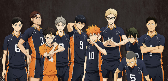 Karasuno usando su uniforme deportivo.